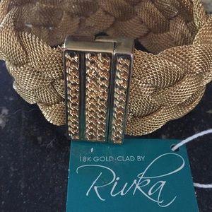 Rivka 18k gold clad wide bracelet